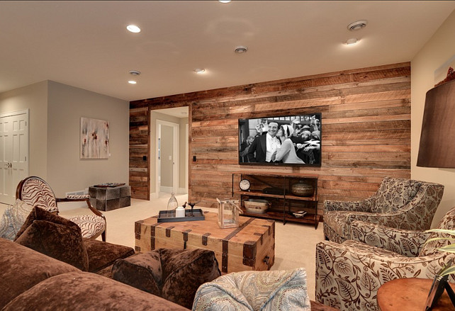 Wood Paneling Up The Drywall In This Family Room And Coordinates Perfectly With Other Pieces Such As An Antique Chest That Is