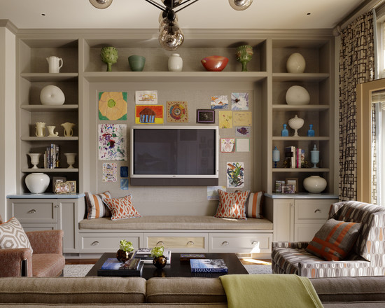 amusing-contemporary-family-room-with-fascinating-light-brown-built-in-tv-cabinets-with-seat-also-lovely-cushions-color-and-pattern-also-soft-color-armchairs-with-pattern-also-unique-pendant-lamp-design